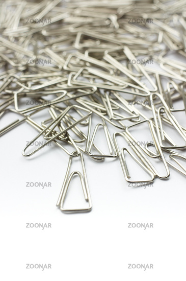 Steel clips closeup isolated on white background