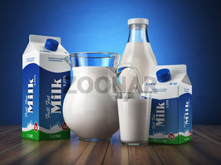 Milk. Glass jug, glass, bottle and carton packs with milk.