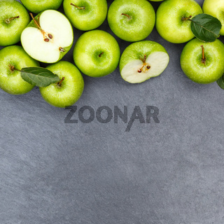 Äpfel Apfel grün Obst Schiefertafel Textfreiraum Quadrat Frucht Früchte von oben