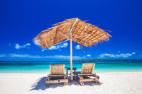 Chaise lounges on beach