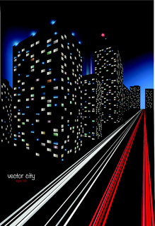 City at Night Illustration