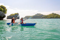 Mother and daughter on kayak