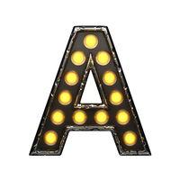 a metal letter with lights. 3D illustration