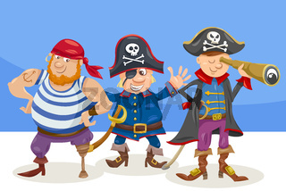 funny pirate characters cartoon illustration