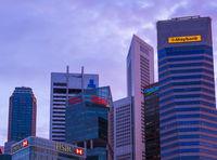 SINGAPORE - APRIL 15: Singapore city skyline and Marina Bay on April 15, 2016 in Singapore