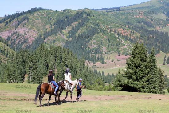 Horse Riders in Jety Oguz Valley, Terskej Alatoo Mountains, Kyrgyzstan
