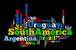 Word cloud of South American countries