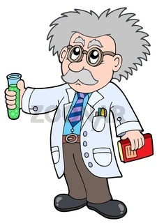 Cartoon scientist - isolated illustration.