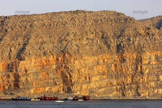 Steep coast of the peninsulas Musandam, Oman