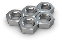 Five metal screw nuts in olympic rings shape