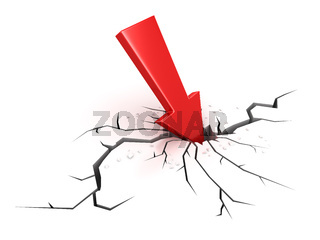 Red arrow crashes through the ground