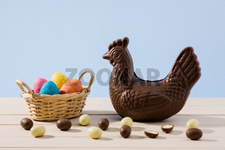 Easter chocolate hen and eggs on a table