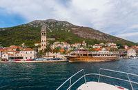 Village Perast on coast of Boka Kotor bay - Montenegro