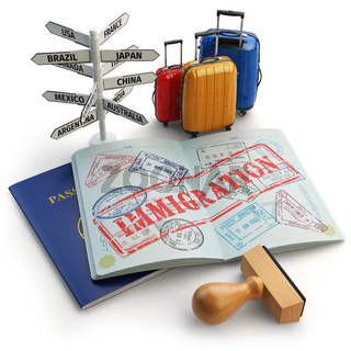 Immigration concept. Passport with stamps and visas, luggage and signboard with names of countries.