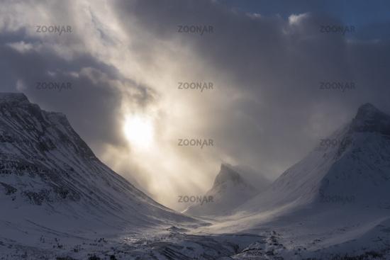 Landscape in snow drift, Stuor Reaiddavaggi, Lapland, Sweden