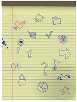 Hand drawn Grunge Kids Icons on Yellow Legal Paper