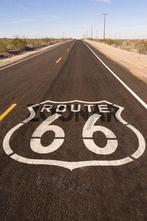 Rural Route 66 Two Lane Historic Highway Cracked Asphalt