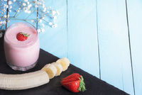 Delicious strawberry and banana smoothie