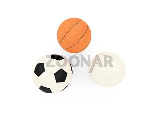 isolated sport balls against white