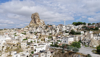 Rock apartments in a village in Cappadocia, Anatolia, Turkey