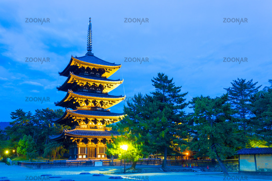 Kofuku-Ji Five Storied Pagoda Lighted Evening H