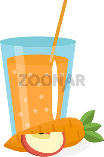 Carrot and apple juice in a glass. Fresh     isolated on white background.    icon. - drink. - cocktail smoothie. Vector illustration