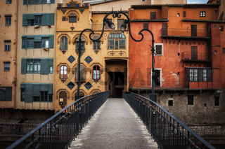 Picturesque aged houses in Girona Old Town