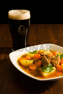 Traditional Irish Stew and a pint of beer