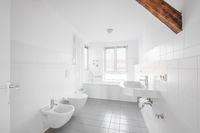 white bathroom - modern tiled bath bathtub  -