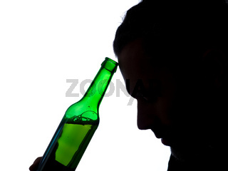 Man with a beer bottle