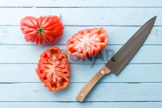 Beefsteak tomatoes. Coeur De Boeuf.