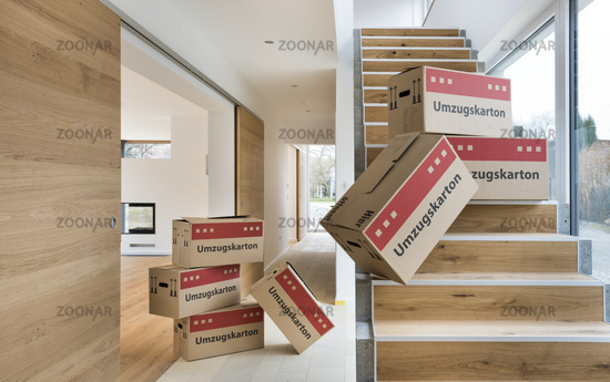 Cartons for moving into new apartment