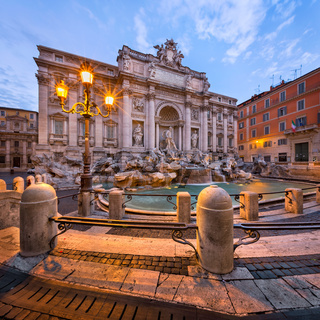 Trevi Fountain and Piazza di Trevi in the Morning, Rome, Italy