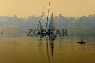 Egypt Luxor Faluka On The Nile At Sunrise