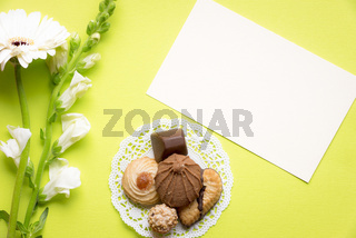 Message card with cookies and flowers