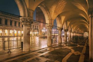 Night arcade, San Marco Square, Venice