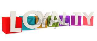 Colorful cubes with loyalty word
