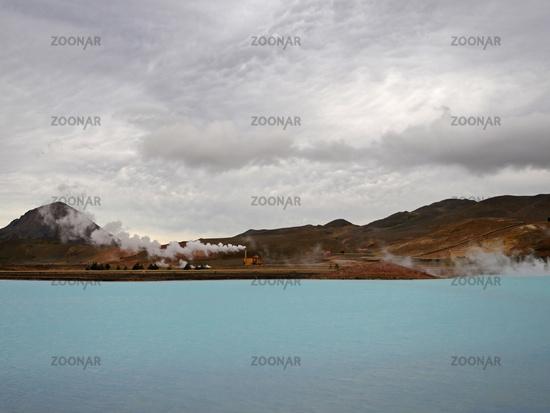 geothermal power plant. Bjarnarflag, near Lake Myvatn, Iceland