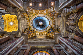 Inside the Saint Peter's Basilica in Rome, Italy