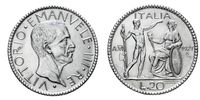twenty 20 Lire Silver Coin 1927 Littore Vittorio Emanuele III Kingdom of Italy
