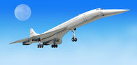 Concorde supersonic airliner aircraft, during take off, or landing.