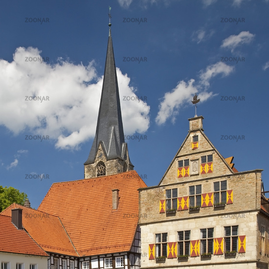 old city with town hall and St. Christopher Church, Werne, North Rhine-Westphalia, Germany, Europe