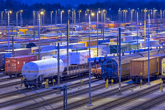 Parked goods wagons on the tracks of the Maschen marshalling yard at night, Maschen, Lower Saxony, G