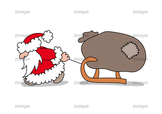 Santa Claus is pulling a sled