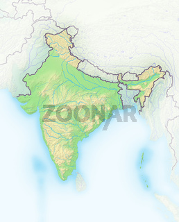 Indien , Reliefkarte.
