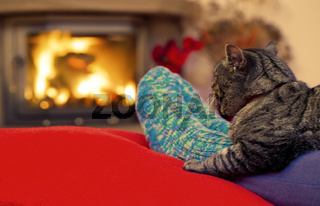 Woman relaxes by warm fire and gray cat .