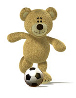 Nhi Bear kicks off a soccer ball