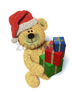 Nhi-Bär mit Weihnachtsgeschenken und Weihnachtsmannmütze