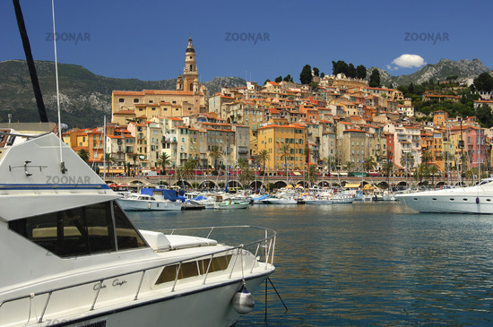 The Old Harbour in front of the Old Town of Menton