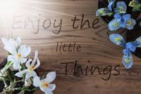 Sunny Crocus And Hyacinth, Quote Enjoy The Little Things